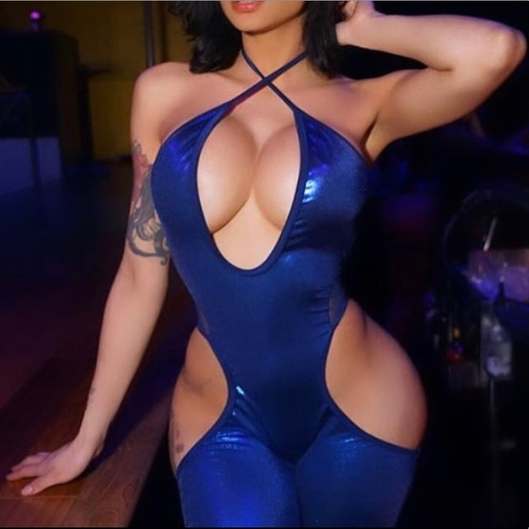 Other - Long One Piece Bodysuit Blue Open Sided